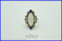 Bague Marquise Ancienne Opale Lapis Lazuli Diamants En Or 18k Ring Antique