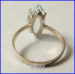 Bague OR massif 18k + aigue-marine Bijou ancien gold ring