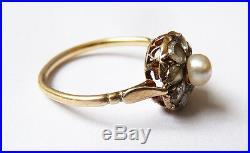 Bague OR massif 18k + perle+ diamants Bijou ancien gold ring 19e siècle