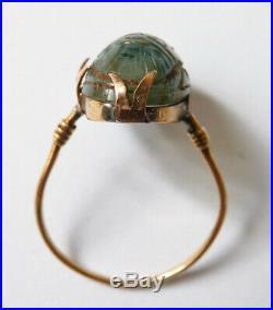 Bague OR massif 18k + scarabée en agate Bijou ancien gold ring 19e siècle