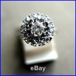 Bague Platine Testé Diamant 0,35 Entouré De 12 Diamants Roses Taille Ancienne