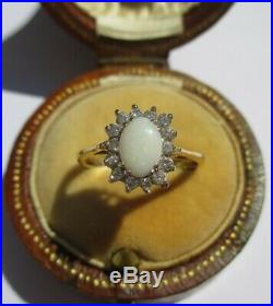 Bague Pompadour ancienne opale 0,45ct & diamants 0,28ct Or 18 carats gold 750