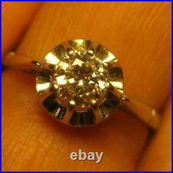 Bague Solitaire Ancienne Or Jaune 18k Et Platine Sertie D'un Magnifique Diamant