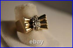 Bague Tank Ancien Or Massif 18k Diamants Antique Solid Gold Diamond Ring 7,3gr