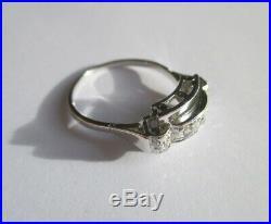 Bague Tank ancienne Art Déco Diamants Or blanc 18 carats gold ring 750