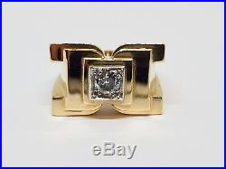 Bague Tank ancienne en Or jaune 18 carats & Platine Diamant 0.40 carat 11.67 g