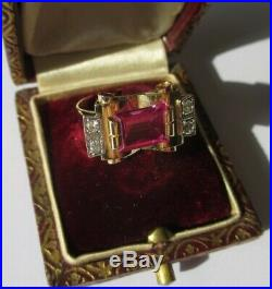 Bague Tank ancienne rubis Verneuil Or 18 carats French gold ring 750
