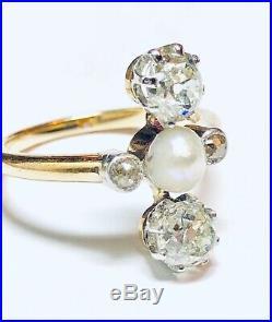 Bague Toi Et Moi Perle Fine / Diamants Taille Ancienne 1carat10 Epoque 1900