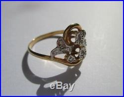 Bague Toi et Moi ancienne XIX ème diamants en or 18 carats 750 bicolore