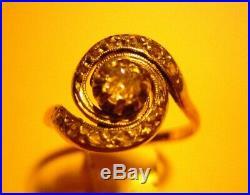 Bague Tourbillon Ancienne Or 750 Et Diamants