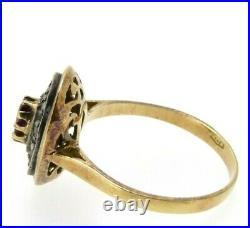 Bague Vintage en Style Ancien Italien or Massif 18K Rubis et Diamants