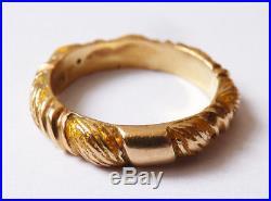 Bague alliance OR massif 18k + émail ZOLOTAS Greece Bijou ancien gold ring