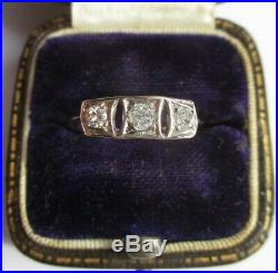 Bague ancienne 1900 Trilogie diamants Or rose 18 carats 750 et platine
