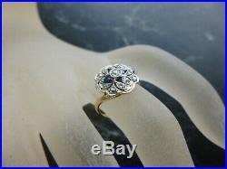 Bague ancienne 2 ors 18 K sertie diamants et saphir tete d aigle T 49