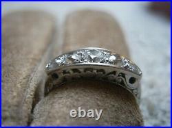 Bague ancienne 5 diamants en or gris 18 carats taille 54