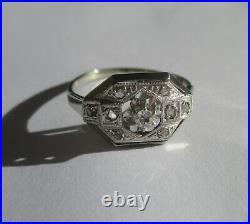 Bague ancienne Art Déco Diamants or blanc 18 carats et platine French ring 750