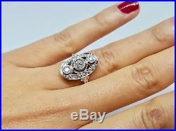 Bague ancienne Art Deco Or blanc 18K 750/1000 Diamants 0.80 carat 5 grammes