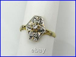 Bague ancienne Art Déco or 18 cts 2 tons Petit diamant central T. 54