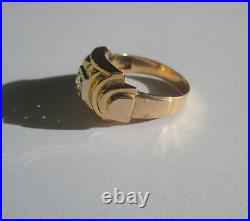 Bague ancienne Art Déco pierre blanche Or rose 18 carats French gold ring 750