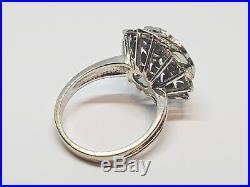 Bague ancienne Art Nouveau en Or blanc 18 carats Diamants 0.50 ct 7.60 grammes