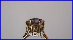 Bague ancienne OR jaune 18K sertie améthyste à facettes griffée