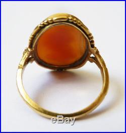 Bague ancienne OR massif 18k+ camée Bijou ancien gold ring