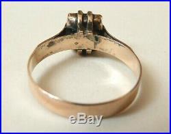 Bague ancienne OR massif + pierre verte 19e siècle Bijou ancien gold ring