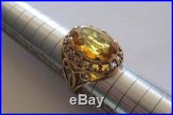 Bague ancienne Or 18 carats / Citrine ou Topaze  / taille 54