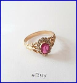 Bague ancienne Or jaune 18 Carats sertie Pierre Rose et Perles/ GOLD Ring T54
