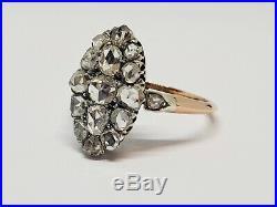 Bague ancienne Or rose 18K & Platine 850/1000 roses de Diamant 3.13 grammes