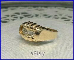 Bague ancienne TANK Or Rose 1950 Godrons 18K 750 Vintage gold ring Art Deco