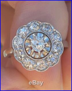 Bague ancienne art-déco DIAMANTS or 18 carats platine TBE ring vintage diamond