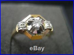 Bague ancienne art deco bicolore en or 18 carats taille 55