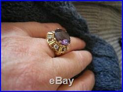 Bague ancienne belle améthyste et diamants taille 50