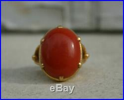 Bague ancienne corail or 18 carats