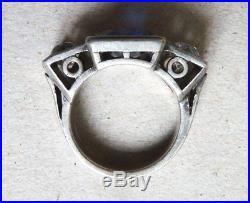 Bague ancienne en ARGENT massif et pierre bleue Art Deco silver ring