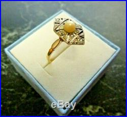Bague ancienne en or 18 K sertie diamants taille rose et perle poincon aigle