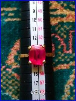 Bague ancienne en or 18 carats avec un magnifique rubis, taille 53