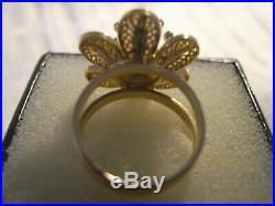 Bague ancienne fleur filigrane en or 18 carats taille 53