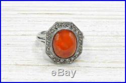 Bague ancienne opale de feu et diamants 19602