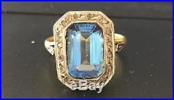 Bague ancienne or 18 carats diamants/aigue-marine Topaze 3 g taille 52