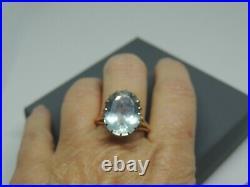 Bague ancienne or 18 carats et aigue marine ovale