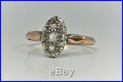 Bague ancienne or 18 carats et diamants 19ème siècle grande taille