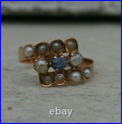 Bague ancienne or 18 carats saphir et perles