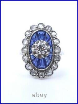 Bague ancienne or blanc 18k platine diamants et saphirs calibrés T49 Art Deco