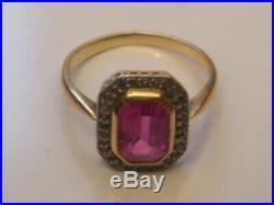 Bague ancienne or jaune-Blanc 18 K carats tete d'aigle Rubis Bijou, T. 52, n°1527