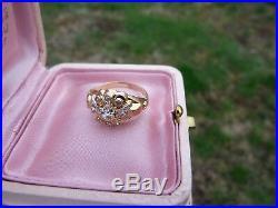 Bague ancienne or poinç tete d'aigle 9 zirconiums meilleur substitut du diamant