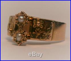 Bague ancienne or rose 18 carats et perles
