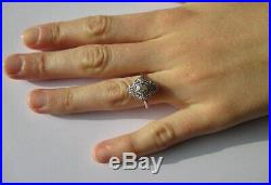 Bague ancienne pierre blanche Diamants Or 18 carats Platine Gold ring 750