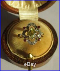 Bague ancienne pierres de couleur diamants Or 18 carats 750 French gold 750
